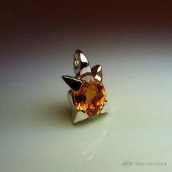"""Star Flower"", Fantasy Universe, Craftsman Art Jeweler Pendant, Citrine, Lost wax, Direct carving art"