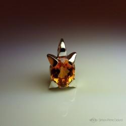 """Star Flower"", Fantasy Universe, Craftsman Art Jeweler Pendant, Citrine, Lost wax, Direct carving art"