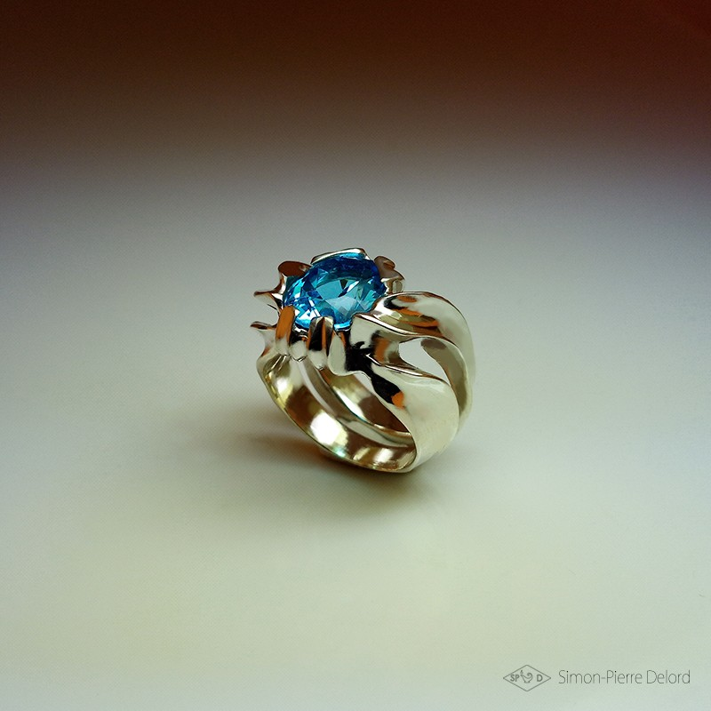 """""""Unveiling"""", High Jewelry Ring, Blue Topaz, Lost wax technique. Arts and Crafts"""