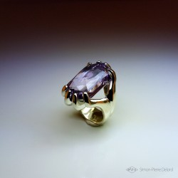 """""""Conscious Perception"""", Jewelry women Ring, Amethyst, Lost wax technique. Arts and Crafts, Surrealism, Direct carving art"""