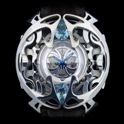 """""""Khumeia"""", High Jewelry Watch in Solid Silver and Topazes from Brazil, Lost Wax Technique. Arts and Crafts"""