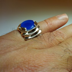 """""""Initiation"""", Jewelry Ring, chalcedony, Lost wax technique. Arts and Crafts, Esotericism, Direct carving art"""