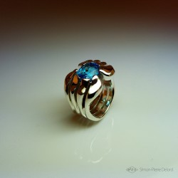 """""""Hanging Lake"""", High Jewelry Ring, Blue Topaz, Lost wax technique. Arts and Crafts"""