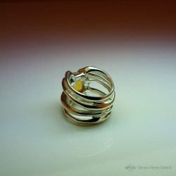 """Jewelery creation: Ring """"Heart of Star"""", Arts and Crafts Jeweler, Citrine. Lost wax, Direct carving art"""