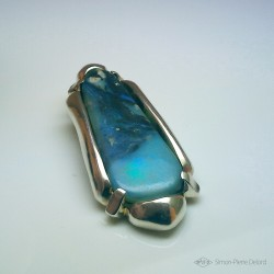 """Opalescent Shore"", Argentium and Australian Opal Pendant, High Jewelry. Top view"
