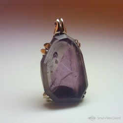 """Temperance"", Argentium and Amethyst pendant, High Jewelry. Front view"