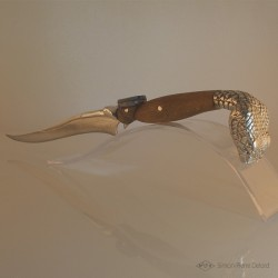 """Primordial Reptile"" High Jewelry Knife. Bolster and pommel in Argentium. Overview"