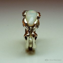 """""""Extraterrestrial Plant"""", Argentium and Australian Opal Ring, High Jewelry. Lapidary craftsman and glyptician. Art of Glyptics."""