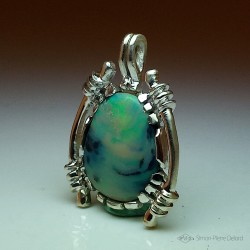 """Astral Poetry"", Argentium and Australian Opal Pendant, High Jewelry. Lapidary craftsman and glyptician."