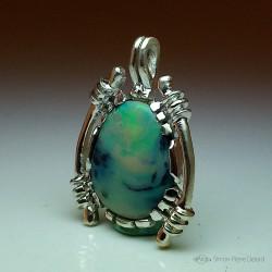 """""""Poésie Astrale"""", Pendentif en Argentium et Opale d'Australie, Haute Joaillerie. Art de la Glyptique."""