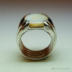 """""""Opalescence"""", Argentium and Australian Opal Ring, High Jewelry. Front View"""