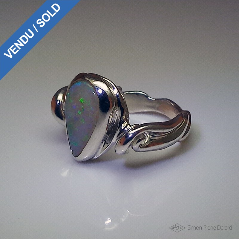 """""""Hope's Drop"""", Argentium and Australian Opal Ring, High Jewelry. Seen in profile"""