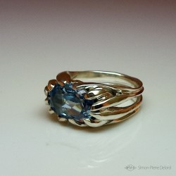 """""""Celestial Skylight"""", High Jewelry Ring, Blue Topaz, Lost wax technique"""
