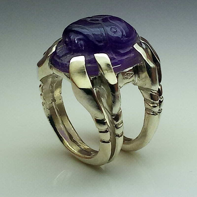 """""""Sleeping Scarab"""", Argentium and Amethyst ring, High Jewelry. Perspective view"""
