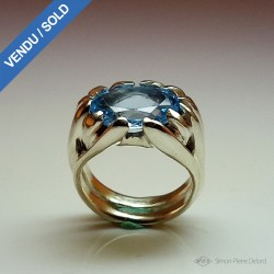 """Celestial Skylight"", High Jewelry Ring, Blue Topaz, Lost wax technique"