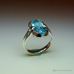 """Flower of Sky"", High Jewelry Ring, Blue Topaz, Lost wax technique"