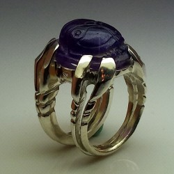 """""""Sleeping Scarab"""", Argentium and Amethyst ring, High Jewelry. Back view"""