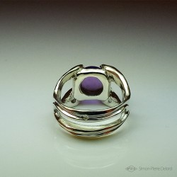 """Pearl of Temperance"", Argentium and Amethyst Ring, High Jewelry. Unique piece. Lost wax technique."