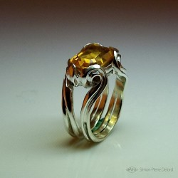 """Solar Undulation"", High Jewelry Ring, Golden yellow citrine, Lost wax technique"
