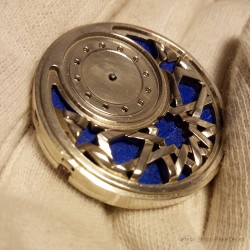 """Zellige"", Watch in sterling silver and Lapis-lazuli, Watch of High Jewelry. ETA 2671, Swiss Made"