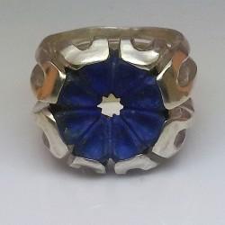 """""""Fleur de Paradis"""", Bague en Argentium et Lapis-lazuli, Haute Joaillerie. Vu de face"""