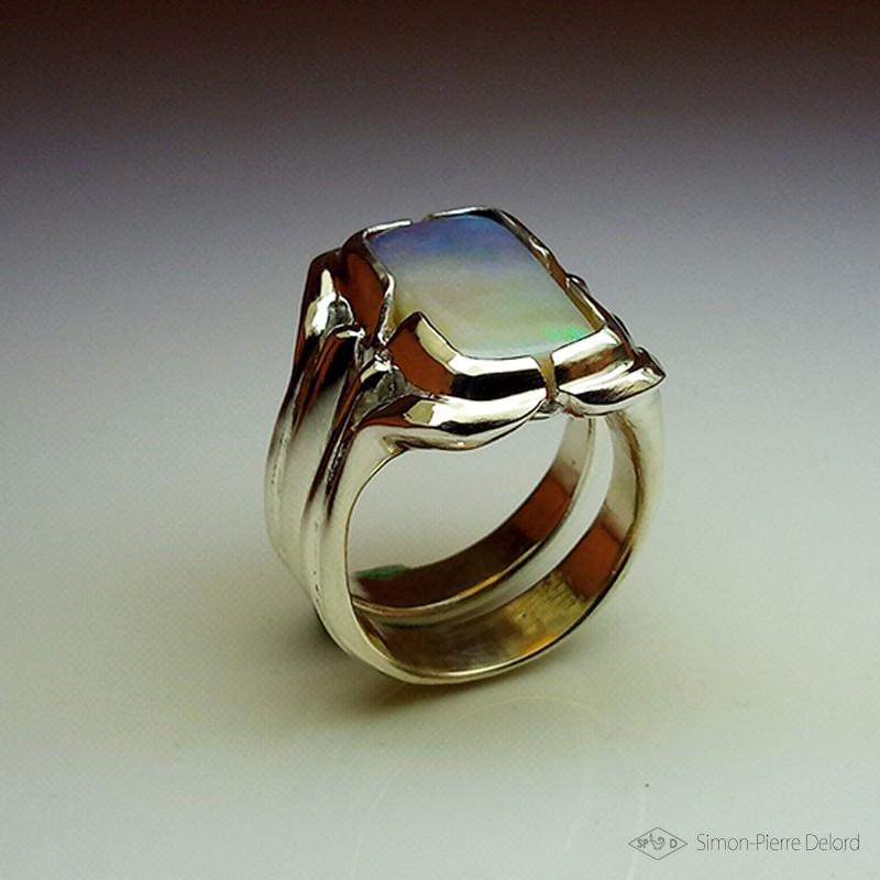 """""""Paysage d'Opale"""", Bague en Argentium (Argent 925) et Opale d'Australie, Haute Joaillerie. Technique de la Cire perdue"""