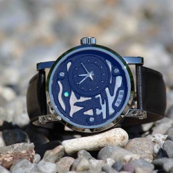 """""""Walk at Étretat"""", Argentium and Opal, High Jewelry Luxury Watch. Front View"""