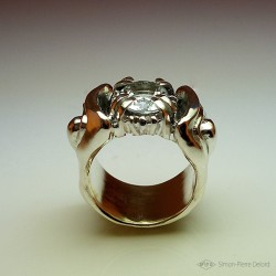 """""""Eternal snow"""", High Jewelry Ring, White Topaz, Lost wax technique. Arts and Crafts"""