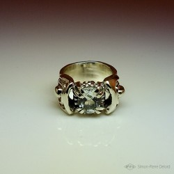 """""""Eternal snow"""", Jewelry Ring, White Topaz, Lost wax technique. Direct carving Art Arts and Crafts"""