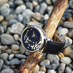 """""""Walk at Étretat"""", Argentium and Opal, High Jewelry Luxury Watch. Perspective View"""