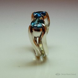 "Ring ""Water of Life"", Jewelery Ring, Blue Lagoon Topaz. Lost wax, Direct carving art. Arts and Crafts"