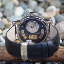 """Walk at Étretat"", Argentium and Opal, High Jewelry Luxury Watch. Movement ETA Caliber 2671 Swiss Made. Back View"