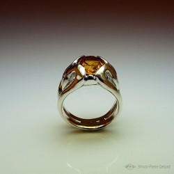 """Jewelery creation: Ring """"The Dawn"""", Arts and Crafts Jeweler, Citrine orange. Lost wax, Direct carving art"""