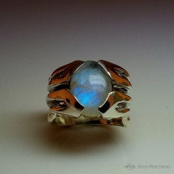 "Ring in Argentium and Moonstone. Title: ""Moon flower"", Craftsman of Art Jeweler - Joailler. Lost wax in direct carving"