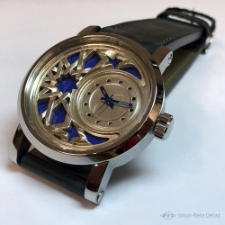 """Zellige"", Argentium and Lapis-lazuli watch, Haute Joaillerie watch. Seen from the front"