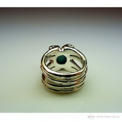 """Ring in Argentium and turquoise. Title: """"Treasure of the Seas"""", Arts and Crafts Jeweler. Lost wax in direct carving"""
