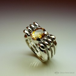 "Ring in Argentium and Citrine. Title: ""Gold Reflection"", Arts and Crafts Jeweler. Lost wax in direct carving"