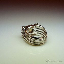 """Ring in Argentium and Citrine. Title: """"Gold Reflection"""", Arts and Crafts Jeweler. Lost wax in direct carving"""