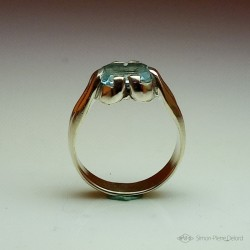 "Ring in Argentium and aquamarine. Title: ""Source of Life"", Arts and Crafts Jeweler. Lost wax in direct carving"