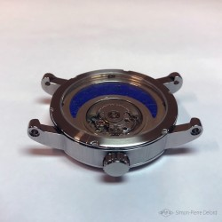 """Zellige"", Argentium and Lapis-lazuli watch, High Jewelry watch. Seen from below. ETA 2671 movement, Swiss Made"