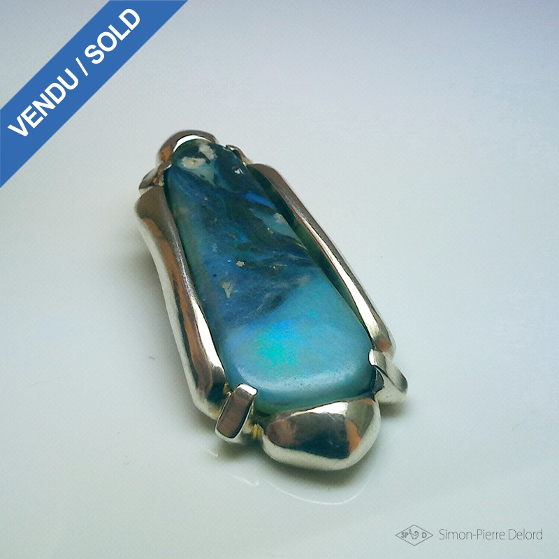 """""""Opalescent Shore"""", Argentium and Australian Opal Pendant, High Jewelry. Top view"""