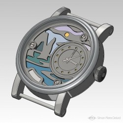 """Seen from the 3D modeling of """"Promenade à Etretat"""", Argentium and Opal Luxury Watch."""