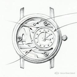 "Preparatory sketch of ""Promenade à Etretat"", Argentium and Opal Luxury Watch."