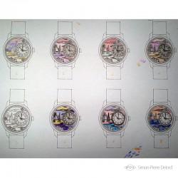 """Etude des couleurs et nuances pour la montre de Haute Joaillerie """"Promenade à Etretat"""""""