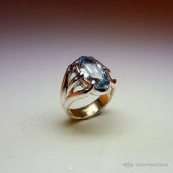 """Poseidon"", High Jewelry Ring, Topaz, Lost wax technique. Arts and Crafts"