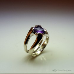 """Nectar"", High Jewelry Ring, Amethyst, Lost wax technique. Arts and Crafts"