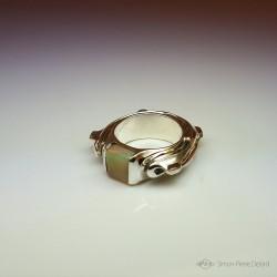 """""""Tortue"""", Bague d'Artisan d'Art Joaillier, Opale d'Australie. Cire perdue, Art de la taille directe"""