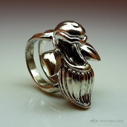 """""""Silver Orchid"""", High Jewelry Ring,  Lost wax technique. Arts and Crafts"""
