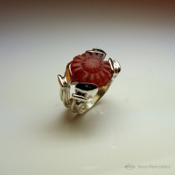 """Rising Sun"", High Jewelry Ring, Carnelian, Lost wax technique. Arts and Crafts"