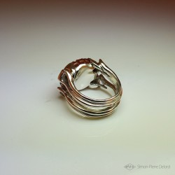"""""""Rising Sun"""", High Jewelry Ring, Carnelian, Lost wax technique. Arts and Crafts"""